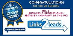 Certificate of Top 100 Business and Professional services company in UK Number 3 is Links2leads