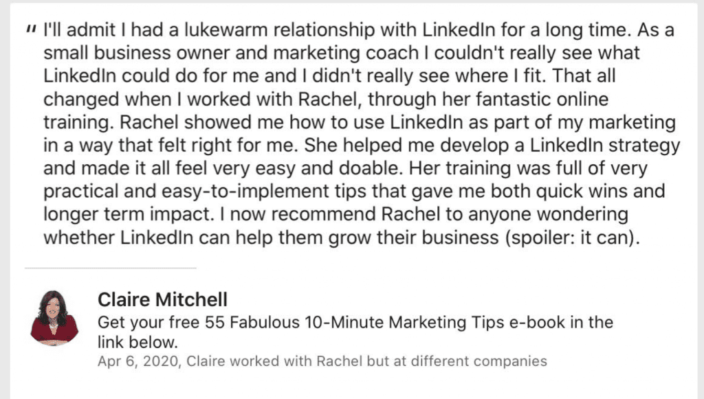 Claire Mitchell Recommending Links2Leads